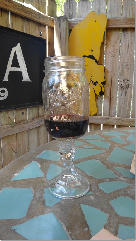 Glass of Ass Kisser Shiraz in Rednek wine glass