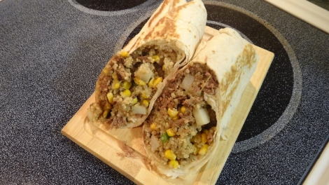 African Inspired Braised Beef Burrito