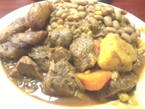 Beef Stew, Beans, Maduros, and Yellow Rice