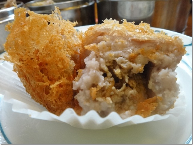 Cross section of Fried Taro stuffed with Pork