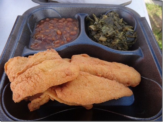 Southern Fried Fish, Collard Greens, Beans