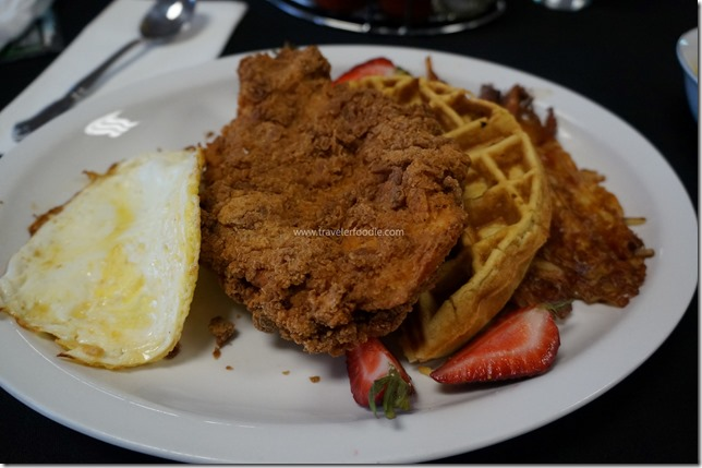 Chicken, Waffles, Hash and Hard Fried Egg