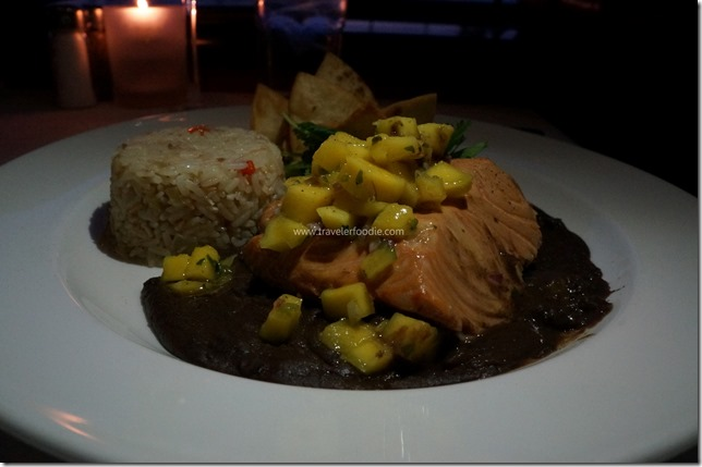 Poached Salmon, Mango Salsa, Smashed Avocado, Coconut Rice Pilaf, Black Bean Sauce, Tortilla Chips