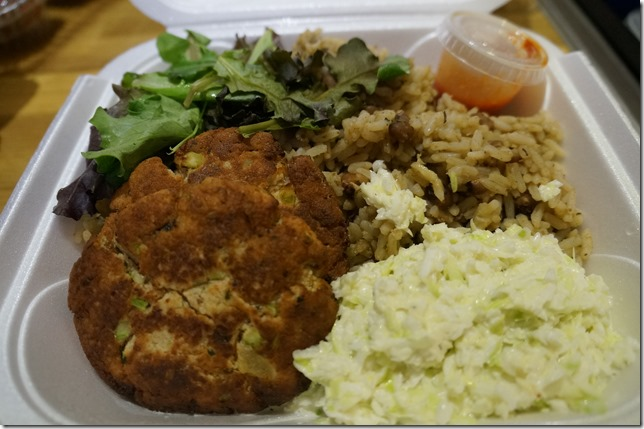 Crab cakes black eye peas and rice