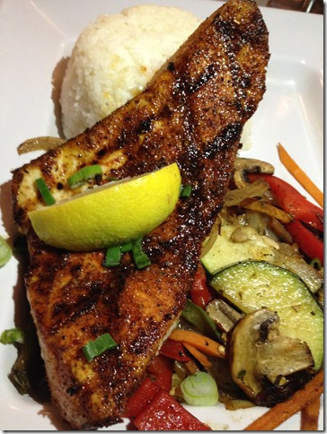 Blackened Swordfish – A little on the done side, but well seasoned ...